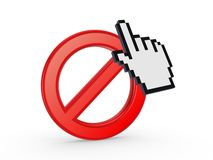 Cursor and symbol of ban. Royalty Free Stock Photography