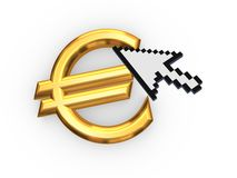 Cursor and symbol of euro. Royalty Free Stock Images