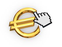 Cursor and symbol of euro. Royalty Free Stock Image