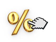 Cursor and symbol of percents. Royalty Free Stock Photo