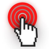 Cursor on target. Internet Concept. 3D Render Royalty Free Stock Photo
