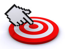 Cursor on target. Computer cursor pointing on the center of the target (3d render&#x29 Royalty Free Stock Photos