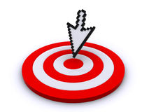 Cursor and target. Computer cursor aiming at the center of the target (3d render&#x29 Royalty Free Stock Images