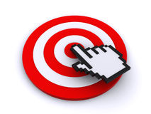 Cursor and target. Hand cursor pointing on the center of the target ( 3d render&#x29 Royalty Free Stock Image