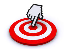 Cursor on target. Hand cursor pointing on the center of the target (3d render&#x29 Royalty Free Stock Image
