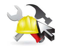 Cursor and under construction sign Royalty Free Stock Image