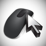 Cursor and Wireless computer mouse Stock Photography