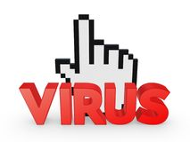 Cursor and word VIRUS. Stock Image
