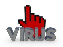 Cursor and word VIRUS. Royalty Free Stock Photography