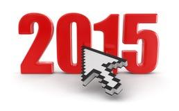 Cursor y 2015 (trayectoria de recortes incluida) Foto de archivo libre de regalías
