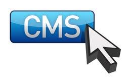 Cursore blu e tasto del CMS Fotografie Stock Libere da Diritti