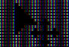 Cursore del topo sullo schermo di computer nell'ambito di alto ingrandimento che dimostra la codifica di RGB del colore bianco Fotografia Stock Libera da Diritti