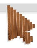 Cursore della freccia nello stile di legno di struttura del granulo Immagini Stock