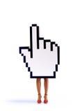 Cursore della mano di commercio elettronico con i piedini femminili Fotografia Stock