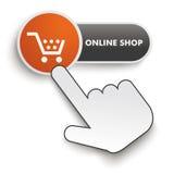 Cursore online della mano del bottone del negozio Fotografia Stock