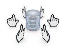 Cursores alrededor del símbolo de la base de datos. stock de ilustración