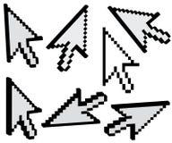 Cursores negros de la flecha Imágenes de archivo libres de regalías