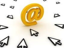 Cursores y símbolo del email Foto de archivo libre de regalías