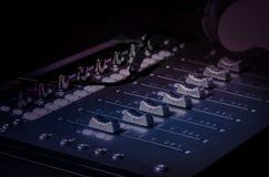 Cursori dello studio del suono di musica della registrazione Fotografia Stock Libera da Diritti