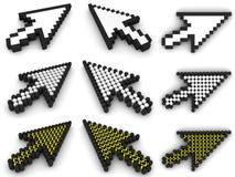 Cursori differenti della freccia su bianco Fotografia Stock