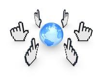 Cursori intorno al globo. Fotografie Stock