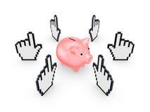 Cursori intorno al porcellino salvadanaio rosa. Fotografia Stock
