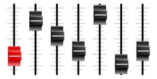Cursori o faders audio o video della scheda di controllo Fotografia Stock Libera da Diritti