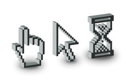 Cursors. Computer cursors in three dimensional Royalty Free Stock Photos