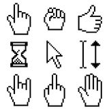 Cursors. Set of pixelated cursord and hand pointers