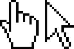 Cursors. Pixel cursors detail in black and white Royalty Free Stock Photos