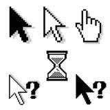 Cursors. Set of six different pixel-cursors Stock Photos