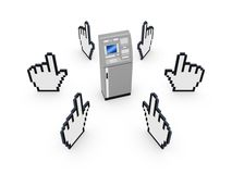 Cursors around ATM. Isolated on white.3d rendered Stock Images