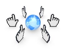 Cursors around globe. Stock Photos