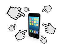 Cursors around mobile phone. Stock Photography