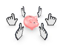 Cursors around pink piggy bank. Stock Photography