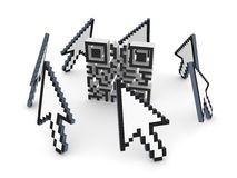 Cursors around QR code. Royalty Free Stock Photo