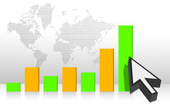Cursors and colorful graph illustration Royalty Free Stock Photography