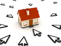 Cursors and house. 3D render Stock Image