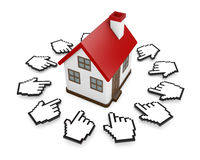 Cursors and house. 3D Cursors and house symbol Stock Photo