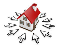 Cursors and house. 3D Cursors and house symbol Royalty Free Stock Image