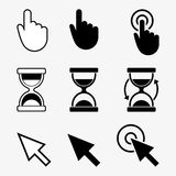 Cursors icons, hand, hourglass, arrow Royalty Free Stock Photo