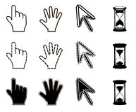 Cursors icons: mouse hand arrow hourglass Royalty Free Stock Photography