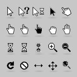 Cursors icons. Pixel and smooth vector cursors icons. Hand, magnifier  and  hourglass Stock Photos