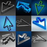 Cursors mix in 3d. Nine images with the cursor arrows on different backgrounds Royalty Free Stock Photography