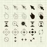 Cursors of the points 25 pieces Royalty Free Stock Images