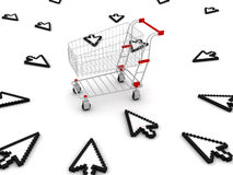 Cursors in shopping cart. 3D render Royalty Free Stock Photography