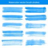 Cursos azuis brilhantes do vetor da escova da aguarela Fotografia de Stock