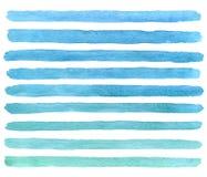 Cursos azuis tirados mão da escova da aquarela Vetor Fotos de Stock Royalty Free