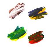 Cursos coloridos artísticos da escova da aquarela no branco Imagens de Stock Royalty Free