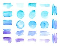 Cursos coloridos da escova da aquarela do vetor Fundos da bandeira do vetor das manchas da pintura da aquarela das cores do arco- ilustração do vetor